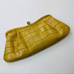 Banana Republic Yellow Genuine Leather Clutch